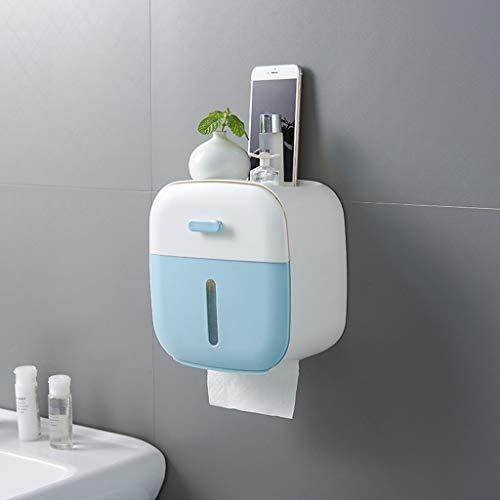 Toilettenpapierhalter Wandmontage Wasserdicht Selbstklebend Solid Halter Rollenhalter Ohne Bohren Hotel Küche Multifunktional Badregal-Blau (Papier-handtuch-halter Mit Herz)