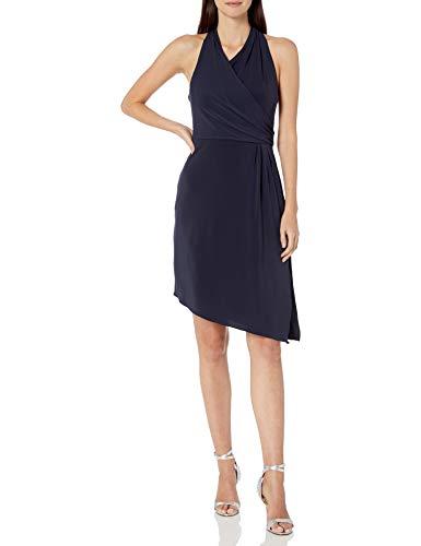 Halston Heritage Damen Sleeveless Asymmetrical WRAP Jersey Dress Freizeitkleidung, Dunkles Marineblau, 30 -