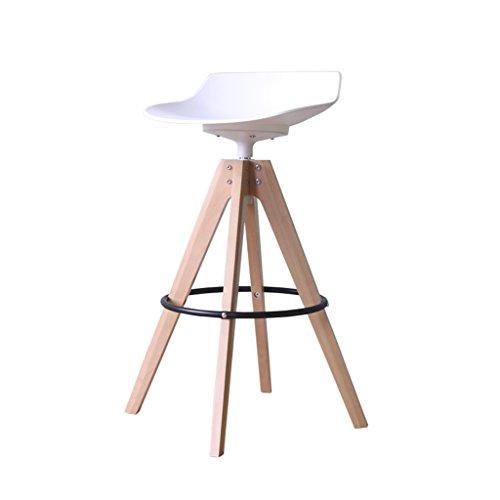 Chaise de bar en bois massif, Rotation 360 ° de tabouret de loisirs moderne européenne, hauteur de siège simple et pratique 65cm/75cm (couleur multiple) (Couleur : Blanc, taille : 65cm)