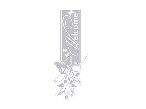 GRAZDesign 980219_50 Fenstertattoo Schriftzug Welcome mit Schmetterling | Fensteraufkleber für den Flur/Eingans-Tür (132x50cm)