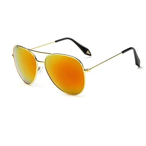 ZSHHG Mode Bunte Spiegel Polarisierte Männer Sonnenbrille Victoria Sonnenbrille Reflektierende Sonnenbrille Weibliche Hipster Goldrahmen Orange Rot Tabletten 148 * 132 * 52Mm