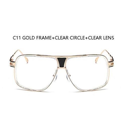 YLNJYJ Mannart Und Weisequadratsonnenbrille-Spiegelfarbtöne Großer Metallrahmen Louis-Weinlesemarkensonnenbrillefrauen Löschen Objektiv Eyewearbrillen