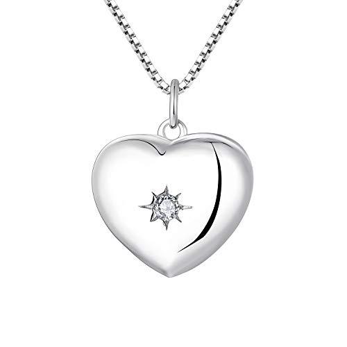 YL Damen Kette Herz Medaillon 925 Sterling Silber Personalized Photo Anhänger Bild Halskette Schmuck