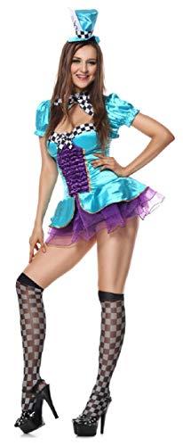 Fancy Me Damen sexy total verrückter Hutmacher Alice im Wunderland Kostüm Kleid Outfit - Grün, Grün, UK ()
