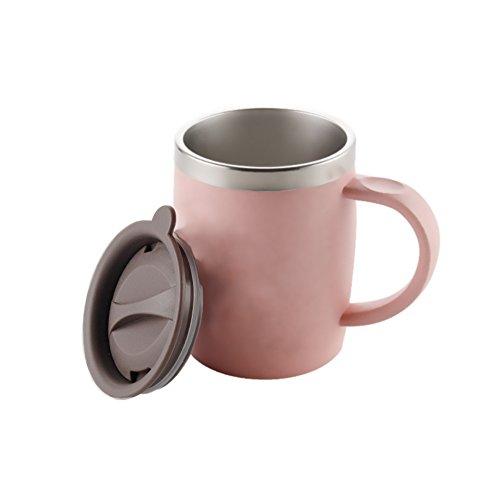 Kaffee-Schreibtisch-Becher, Isenretail Thermische Teetasse, Doppelwand 304 Edelstahl, Schreibtisch-Wasser-Tee-Tasse für Schulbüro mit Deckel, 420ML (420 Tee)