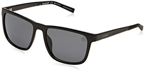 Timberland tb9162 occhiali da sole, shiny black/smoke polarized, 55 uomo