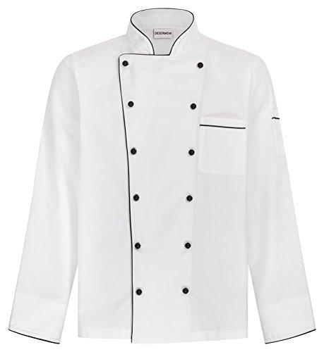 DESERMO® Kochjacke Langarm mit Paspel schwarz oder blau | Kugelknöpfe inklusive | Größenvielfalt XS bis 5XL