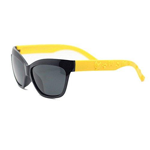 Y-WEIFENG Cat Eyes Jungen und Mädchen Flexible polarisierte Sonnenbrille mit Etui UV-Schutz für Kinder von 3 bis 10 Jahren (Farbe : Schwarz)