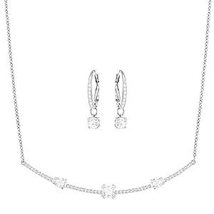 Swarovski Damen-Schmuckset Halskette + Ohrringe rhodiniert Kristall weiß – 5291056