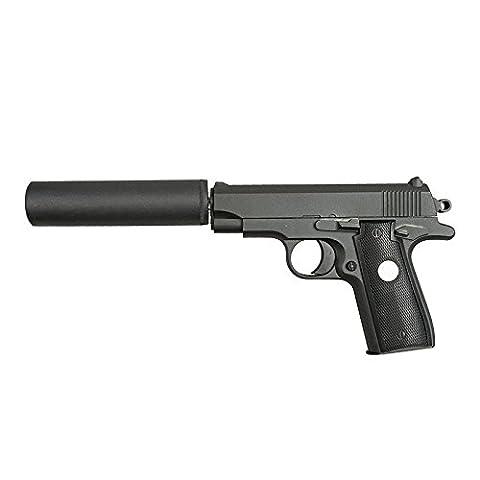 Mini Colt M1911 à Ressort Fourni avec son silencieux Culasse Metal 0.5 Joules
