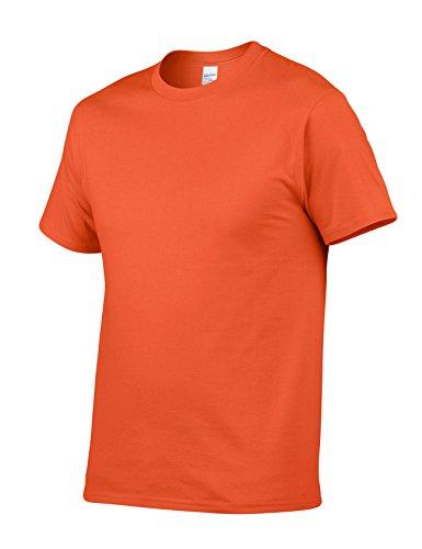 Legou Herren T-Shirt Kurzarm Baumwolle Tee Solide Farbe Basic Tee Orange
