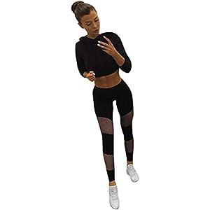 Hxuli Jazzpants Damenyoga Strumpfhosen Dame Net Garn Nähen Sport-Yoga-Hosen Fischernetze Durchbrochen Sport Leggings…