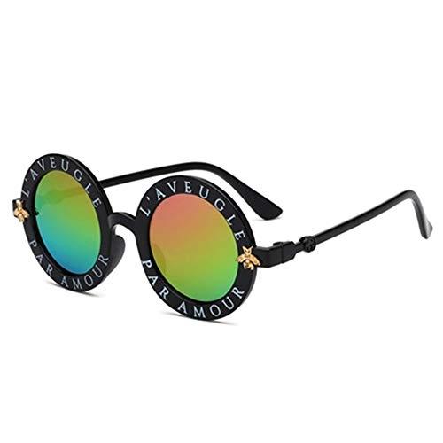 LAOGUAISHOU Steampunk Bee Sonnenbrille Jungen Mädchen Vintage Kinder Sonnenbrille Runde Sonnenbrille Zubehör (Lens Height : 48mm, Lens Width : 48mm-Multi)