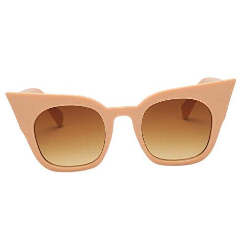D DOLITY Sonnenbrille Uv400 Cat Eye Retro Look Brille Pilotenbrille Vintage Sonnenbrille 7 verschiedene Farben - Beige Rahmen Gradient Tea Lens, wie beschrieben