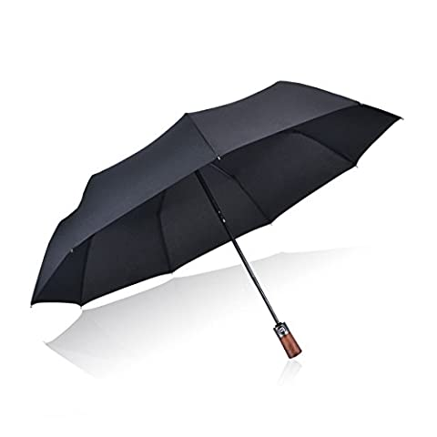 Automatic Folding Umbrella, MAYOGA Windproof Compact Travel Umbrella Golf Umbrella Auto Open Close with Wood Handle for Man Woman -Black
