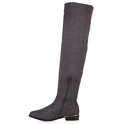 Gefütterte Damen Overknees Metallic Winter Stiefel Lederoptik Grau