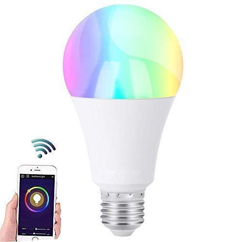 Smart Alexa lámpara, JVMAC RGB regulable E27 Blanca cálida inteligente smart WiFi lámpara, Bar Via Aplicación de impuestos, compatible con Amazon Alexa [Echo, Echo Dot] y Google Home para iOS y Android [Clase energética A +]