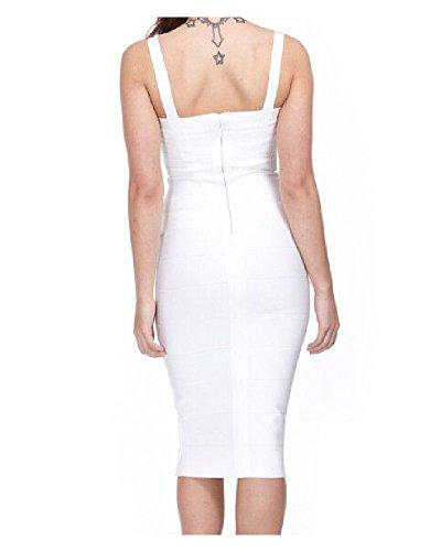 Donna Whoinshop Rayon Strap medio corti da sera festa dell'abito VerbandKeid bianco 2