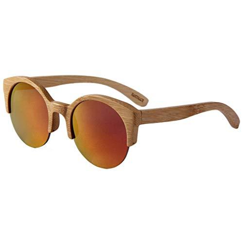 Mode Voll Bambus Halbrand Runde, Männer und Frauen Big Frame Bambus Holz Brille Polarisierte Gläser (Farbe: Rot Wasser Silber Linse)