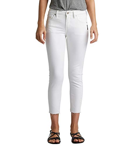Silver Jeans Co. Damen Avery Curvy-fit High Rise Skinny Crop Jeans, White raw Hem, 33W x 25L -