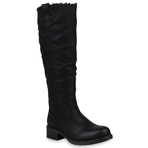Klassische Damen Schuhe Stiefel Warm Gefütterte Winterstiefel Leder-Optik 153260 Schwarz Agueda 38 Flandell