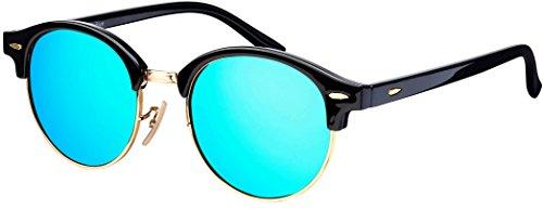 Sonnenbrille La Optica UV 400 Schutz Unisex Damen Herren Gold Rund - Farben, Verspiegelt (Schwarz/Gold (Gläser: Hellblau verspiegelt))