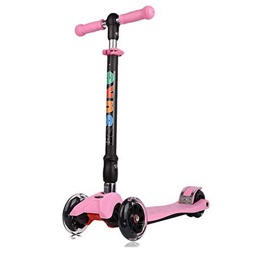 Scooter Kids 3 Wheel Kick Scooter - Perfekt für Kinder, LED-Leuchträder, faltbares Design, verstellbare Griffe und Leichtbau (Color : Pink)