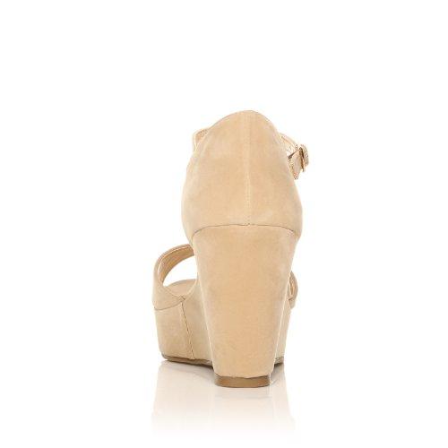 ShuWish UK - Chaussures En Faux Daim A Bout Ouvert Pour Les Femmes - Haut Talon - Beige Beige - NUDE SUEDE