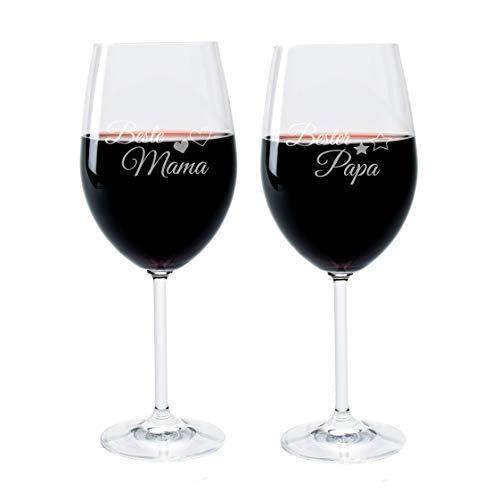 (FORYOU24® Weinglas Set mit Gravur Motiv Mama Papa Wein-Glas graviert und Untersetzer)