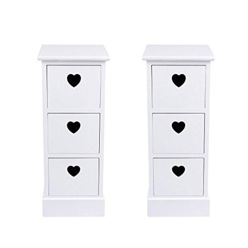 Homgrace Blancas Mesillas de Noche con Cajones para Dormitorio,Baño (Tipo-A)