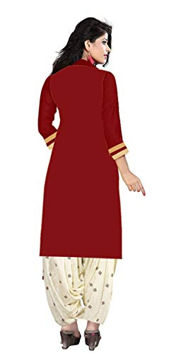 Platinum Women's Cotton Dress Material (1001 R_Free Size_Maroon) 2