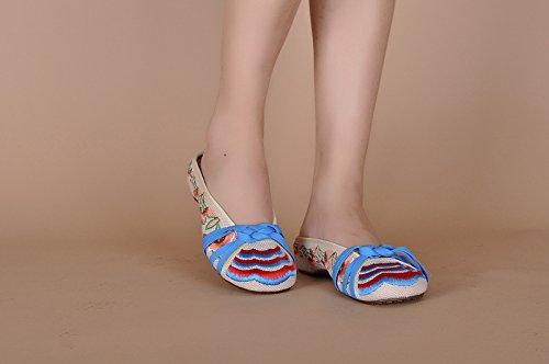 &hua Chaussures brodées, semelle tendon, style ethnique, flip flop féminin, mode, confortable, sandales beige