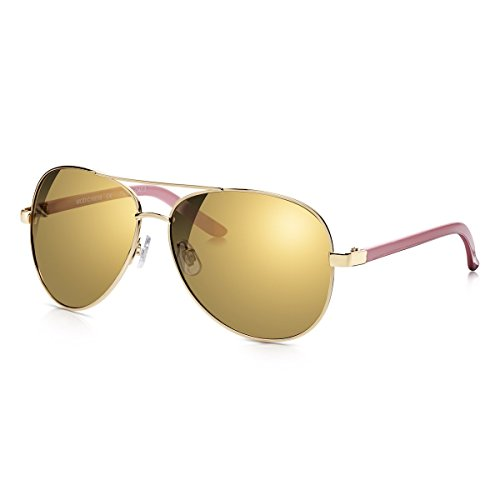 ac08cba4c7 Sunglass Junkie Womens Oversized Aviator Style Sunglasses with Gold Metal  Frame