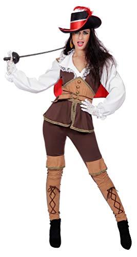 Karneval-Klamotten Musketier Kostüm Damen mit Spitzkragen Größe 40
