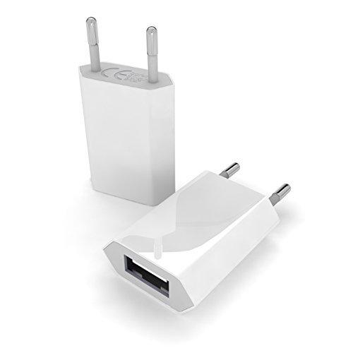 etec24® Slim Charger / Reisestecker / Mini Netzstecker / Netzstecker / Netzteil / Ladestecker / Ladegerät für die Steckdose mit USB Eingang zum Aufladen für unterwegs, passend zu iPhone, iPad, iPod, MP3 Player und anderen USB Geräten / Universal in weiß
