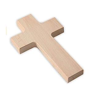 MaMeMi Wandkreuz aus Holz – Kreuz zum Bemalen & Gestalten, Buche Natur, leicht abgeschrägte Kanten