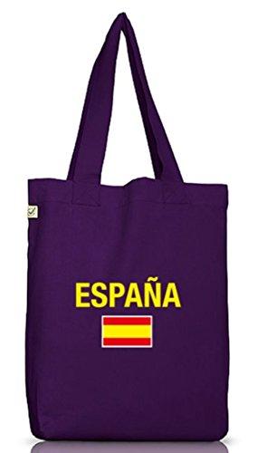 Shirtstreet24, EM/WM 19 - Espana, Spanien Spain Jutebeutel Stoff Tasche Earth Positive (ONE SIZE) Dark Violet