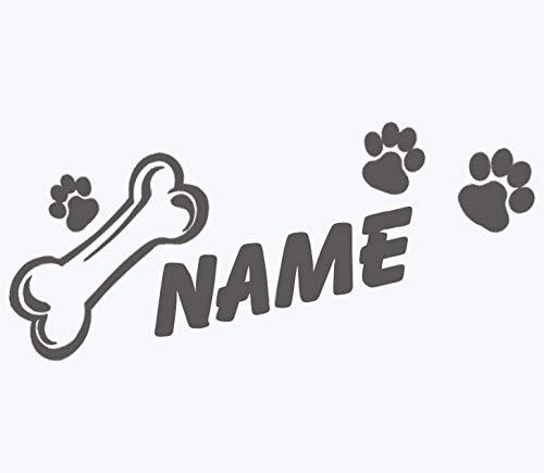 topdesignshop Hunde-Pfoten Aufkleber mit Wunschnamen | Hundeaufkleber Knochen Tatzen Hund Auto Sticker mit Namen gestalten