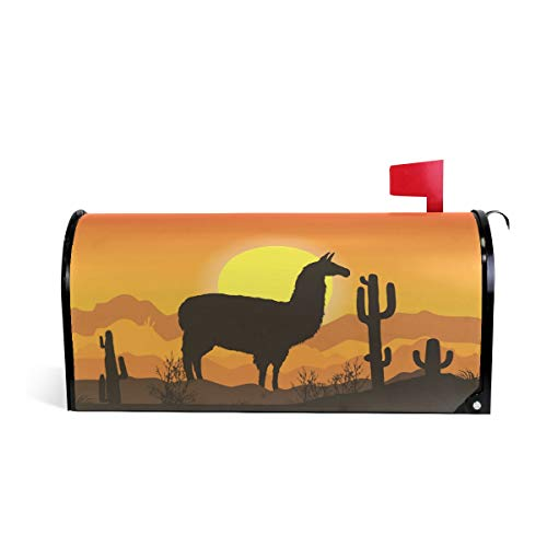 HEOEH Couvercle magnétique pour boîte aux Lettres Motif Llama Desert Alpaga Cactus 69,7 x 52,8 cm 52.6x45.8cm Multicolore