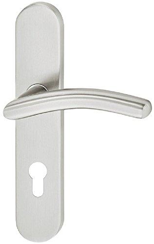 Design Türdrücker Langschild Türbeschlag Edelstahl Türklinkengarnitur für Zimmertüren - LDH 2184 | Edelstahl matt gebürstet | PZ-Profilzylinder | Baubeschläge von JUVA®