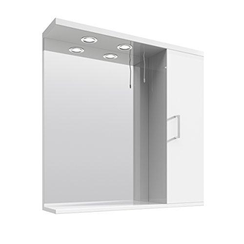 #veebath Linx 750mm Badezimmer-Spiegel mit Stauraum, Wandmontage, Spiegelschrank mit Licht#