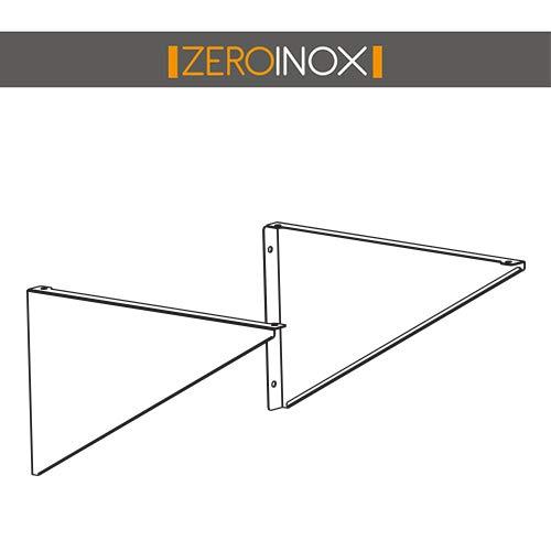 ZeroInox Support Fixe pour étagères  étagères Mural Profondeur 30& 40cm-en Acier Inoxydable AISI 304