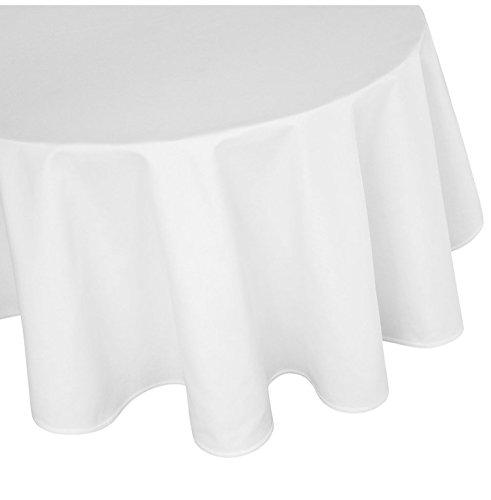 Damast nappe ronde 100 % coton taille au choix, Blanc, 120 cm