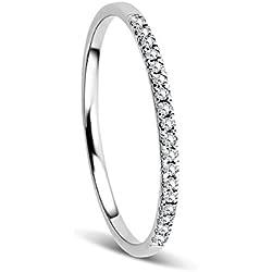 Orovi Bijoux Femme, Bague Éternité en Or Blanc avec Diamants coupé Brillant 0.08 Ct 9 Kt/375