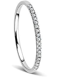 d4db2c19e6a4 Orovi Anillo Señora compromiso aniversario en Oro Blanco con Diamantes  Talla Brillante 0.08 ct Oro