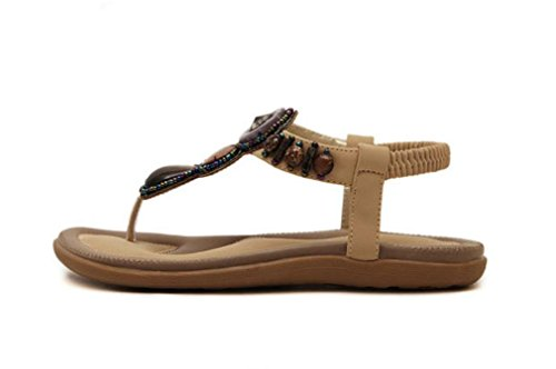 Boho rétro chaussures pincée orteil perles bijou émeraude t-avec des sandales plates plates femelles apricot