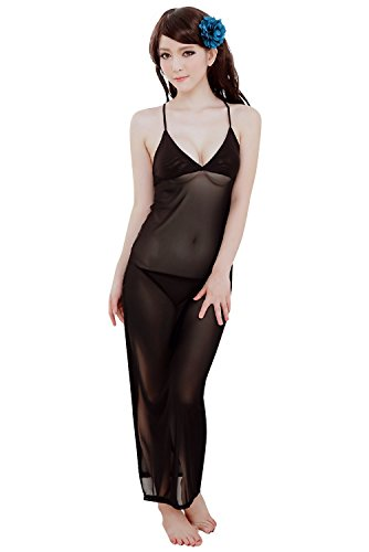 Shangrui Femmes Palais Rétro Dentelle Pyjamas Noble Sling Princess Dress W369 Noir