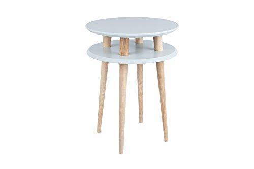 Ragaba UFO Couchtisch Kaffeetisch Wohnzimmertisch Doppelt - rund - günstig - Einfache Montage - 45x61 cm - FSC® Holz - hellgrau