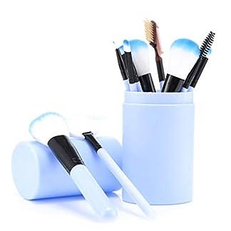 Juego de 12 brochas de maquillaje con funda profesional para maquillaje para base de polvo, sombra de ojos, delineador de ojos, labios-azul