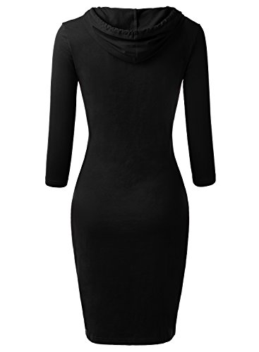 DJT Femme Robe Pull A Capuche Moulantes Manches 3/4 Kangourou Poches Noir